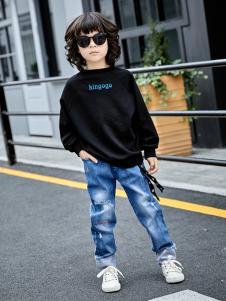 金果果18男大童新款黑色卫衣