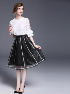 司合伊新款黑色半裙