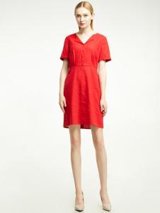 凡恩女装红色连衣裙18新款