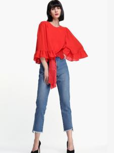蜜思罗雅女装红色上衣