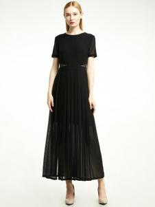凡恩女装2018黑色优雅长裙
