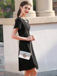 乔帛黑色连衣裙