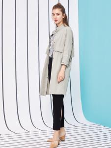 金蝶茜妮18新款长袖外套中长款修身单排扣收腰风衣女