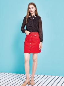 金蝶茜妮18新款蕾丝修身上衣皮半身裙两件套装
