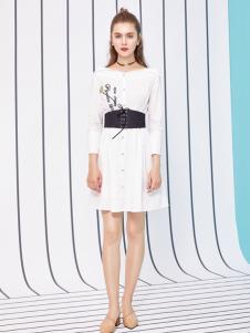 金蝶茜妮18新款单排扣无弹力修身女士白色方领连衣裙