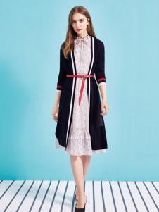 金蝶茜妮18新款V领条纹修身显瘦名媛气质裙子中长款潮