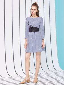 金蝶茜妮18新款欧美时尚潮雪纺连衣裙中长款长袖印花高腰修身