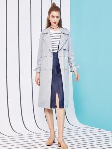 金蝶茜妮18新款时尚大方V型大翻领英伦风衣女中长款外套收腰