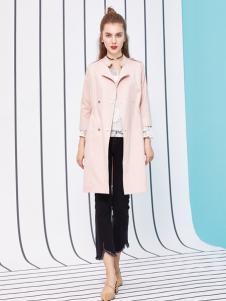 金蝶茜妮18新款气质甜美风衣中长款修身显瘦大码女装外套
