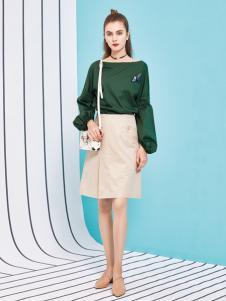 金蝶茜妮18新款长袖短款绿色蝙蝠袖女装卫衣