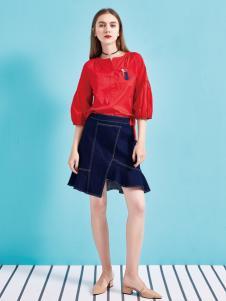 金蝶茜妮18新款灯笼泡泡袖衬衫女长袖衬衣