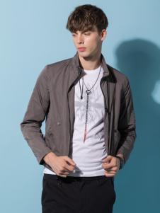 它钴男装18新款银灰色外套
