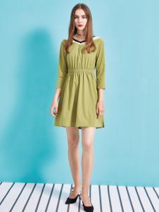 金蝶茜妮18新款专柜假两件套领A型连衣裙