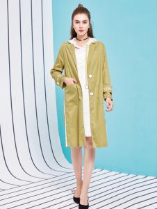 金蝶茜妮18新款长款风衣女春装过膝姜黄色薄款小个子外套