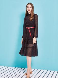 金蝶茜妮18新款蕾丝镂空连衣裙长袖韩版中长款修身显瘦打底裙女