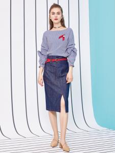 金蝶茜妮18新款条纹中式刺绣红梅公主风女上衣