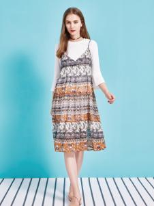 金蝶茜妮18新款修身高腰显瘦花色中长款雪纺吊带连衣裙女