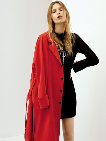 佧茜文女装红色外套