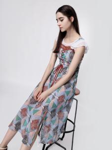 音非女装复古印花裙18新款