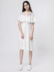音非女装蕾丝纯白连衣裙