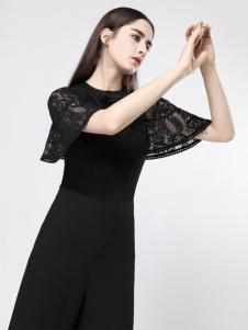 音非品牌女装蕾丝小黑裙18新款