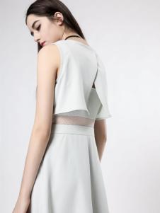 音非女装白色时尚连衣裙