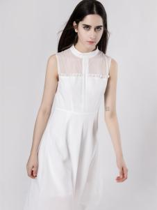 音非女装白色连衣裙18新款