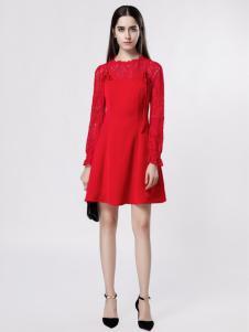 音非女装红色长袖修身连衣裙