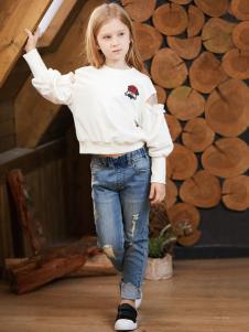 YukiSo女童装白色卫衣18新款