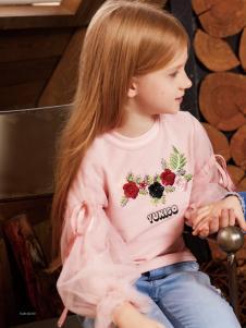 YukiSo童装粉色刺绣上衣18新款