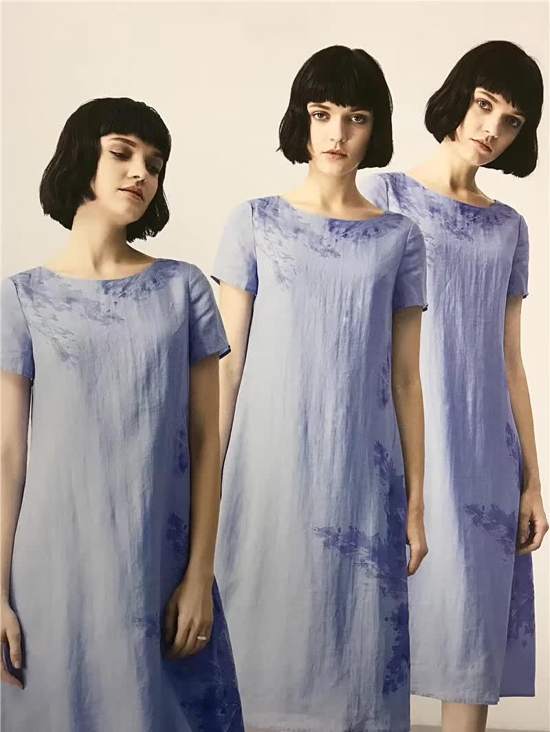 潮流女装一线品牌真丝大码女装连衣裙重工刺绣