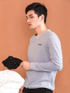 莎斯莱思男装新款银灰色T恤