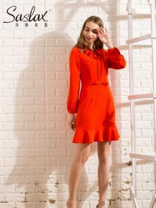 莎斯莱思女装新款红色连衣裙