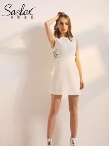 莎斯莱思女装新款白色连衣裙