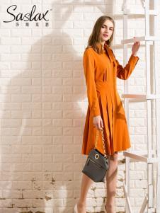 莎斯莱思女装新款红橙色连衣裙
