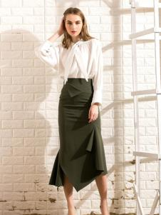 莎斯莱思女装新款军绿色半裙