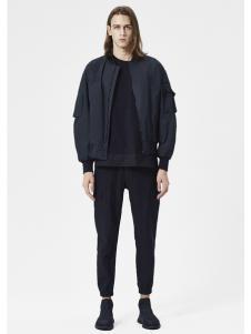 JPE18春装新款圆领黑色外套