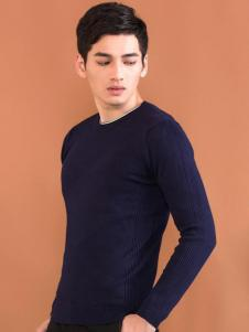 莎斯莱思男装新款深蓝色T恤