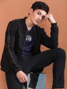 莎斯莱思男装春装新款黑色外套