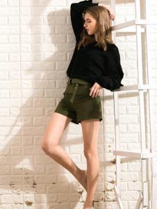 莎斯莱思女装新款军绿色短裤