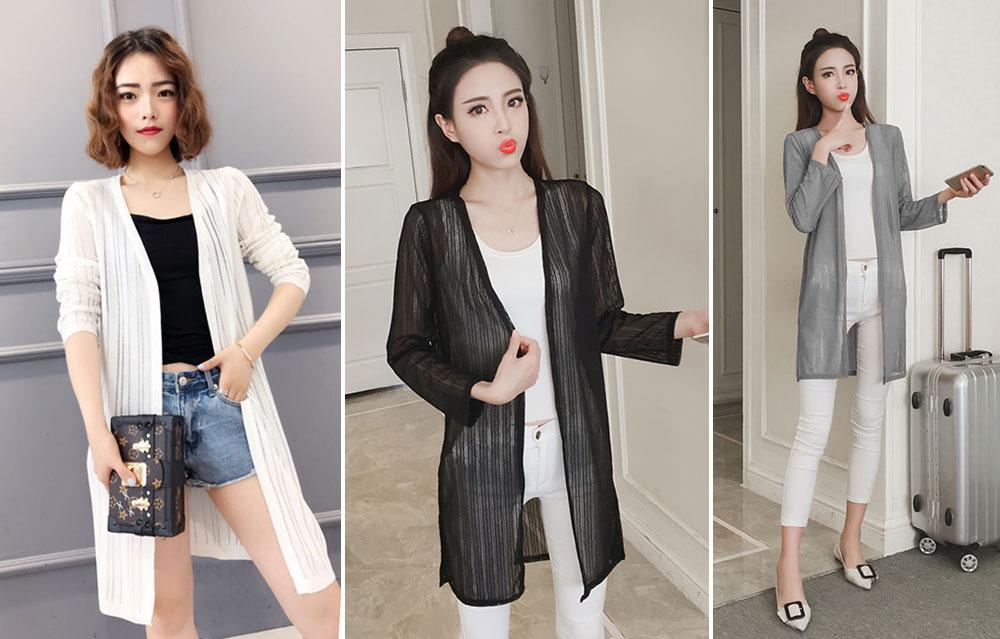 中长款垂顺弹力网纱长袖薄外套,比较柔软的网纱面料,有弹性,黑白灰三色,均码 (1)