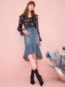 西蔻女装深圳2018新款牛仔半裙