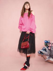 2018西蔻女装粉色卫衣