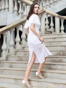 迪奥女装白色连衣裙18新款