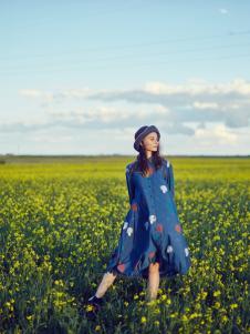 飞鸟和新酒女装新款蓝色印花