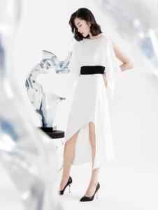 ECA女装2018收腰白色连衣裙