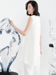 ECA女装18气质白色连衣裙