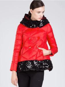 魅依阁新款红色羽绒服
