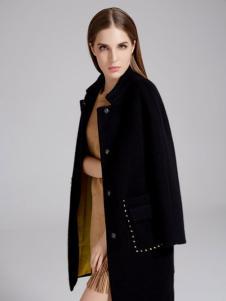 曼天雨女装新品黑色大衣