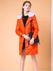 魅依阁新款橙色羽绒服
